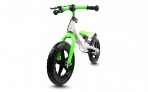"""Bicicleta fara pedale Ricokids 12"""", alb cu verde"""