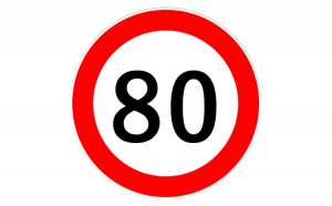 Autocolant limitator viteza 80km/h -