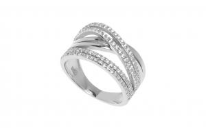 Inel din argint cu zirconii albe, model impletit, masura 54
