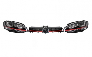 Ansamblu faruri RHD 3D Semnal LED + Grila compatibil cu VW Golf 7 VII (2012-2017) R20 GTI Design Rosu