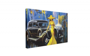 Tablou Canvas Car and Girl Old City, 40 x 60 cm, 100% Bumbac