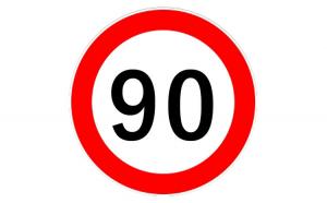 Autocolant limitator viteza 90km/h -
