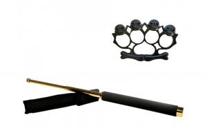 Set baston telescopic 65 cm auriu & box-rozeta skull negru