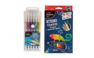 Set 6 pixuri cu gel si 15 creioane colorate+creion HB, Kidea