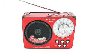 Set Radio portabil cu acumulator si MP3 Player Meier M-U07, USB, SD card, micro SD/TF, AM/FM/SW1/SW2, lanterna, culoare rosie si Modulator Centenar KC-681