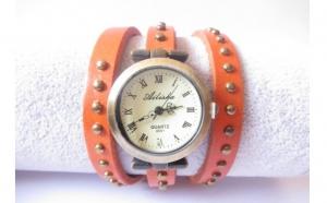 Ceas Vintage portocaliu cu bumbi rotunzi (1+1 Gratis), la doar 65 RON in loc de 130 RON