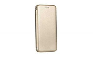 Husa Samsung Galaxy J6 + 2018   J6 Plus 2018 Gold Auriu Tip Carte   Toc Flip din Piele Ecologica Portofel cu Inchidere Magnetica