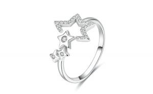 Inel reglabil din argint 925 Luminous Star Waitting
