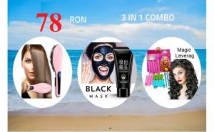3 in 1 Combo: Perie de Indreptat Parul, Masca Neagra pentru indepartarea punctelor negre si Bigudiuri Magic Leverag