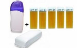 Oferta kit epilat epilare: Incalzitor + 5 flacoane rezerva ceara + set benzi hartie