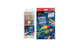 Set 6 pixuri colorate cu gel si 12 creioane colorate, Kidea