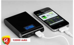 Baterie externa 12000 mAh cu display, 2 iesiri USB