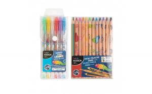 Set 6 pixuri colorate cu gel si 12 creioane jumbo, Kidea