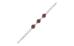 Bratara argint 925 cu pietre de coral rosu   Be Elegant BTU0074