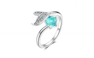 Inel reglabil din argint 925 Blue Ocean Stone Tear Fish Tail
