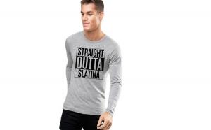 Bluza barbati gri cu text negru - Straight Outta Slatina