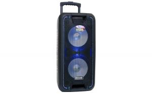 "Boxa Activa Portabila Troller Meirende MR-1010, 2 Difuzoare de 10"", 8000W PMPO, 120W RMS, cu 2 x Microfoane, Functie REC Bluetooth, Display, Fm, Usb, Sd, Aux, Lumini, Telecomanda, Negru"
