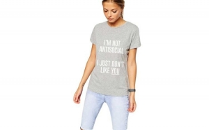 Tricou dama gri cu alb - I'm not antisocial