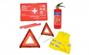 Kit siguranta auto - trusa medicala, 2 triunghiuri, stingator, vesta