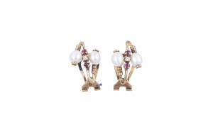 Cercei din aur 18K cu rubine, perle si diamante, CAU61