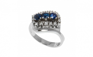 Inel din aur alb 14K cu safire si diamante naturale, circumferinta 57 mm