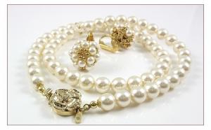 CLASIC SET pentru mirese - Colier si cercei ICHIBAN, realizate cu perle si cristale SWAROVSKI de 2, 4, 6 si 7 mm, Miyuki seed beads placate cu AU 24K, manual, produs romanesc 100%, serie mica sau unicat, la numai 431 RON in loc de 862 RON