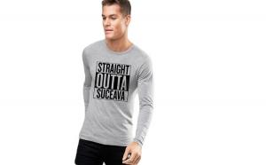 Bluza barbati gri cu text negru - Straight Outta Suceava