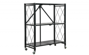 Raft metalic cu 3 polite, Quasar & Co., raft pliabil pentru bucatarie, baie, garaj sau balcon, raft pe roti, 71.5 x 34 x 87 cm, negru