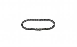 Bratara Tennis din aur 18K, tratata cu rodiu negru, cu 52 diamante negre si 4 diamante albe, naturale, lungime 19 cm, BTAU25