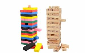 Joc turnul instabil - 54 piese - cu blocuri de lemn
