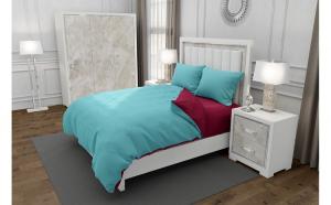 Lenjerie de pat matrimonial cu husa de perna dreptunghiulara, Duo Turquoise, bumbac satinat, gramaj tesatura 120 g mp, Turcoaz Grena, 4 piese