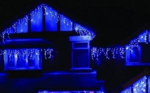 Pachet 2 Instalati pentru Craciun cu franjuri, 8 metri, cu LED-uri albastre