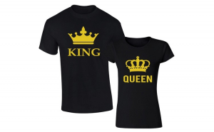 Set de tricouri negre GOLD KING/QUEEN BIG COD SNG874