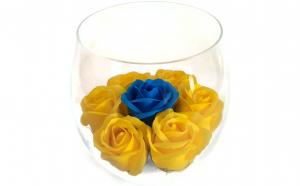 Trandafiri de sapun in bol de sticla