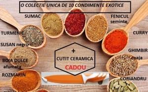 O colectie de 10 condimente exotice + cadou 1 cutit de ceramica, la 59 RON in loc de 185 RON