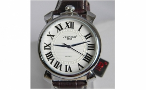 Ceas Deep Red Classic, curea din piele, rezistent la apa, la doar 119 RON in loc de 240 RON