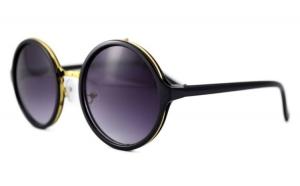 Ochelari de soare Rotunzi Mov inchis - Negru/Auriu