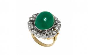 Inel din aur galben 14K cu smarald cabochon si diamante naturale, circumferinta 55 mm
