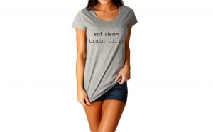Tricou dama gri  - Eat Clean Train Dirty