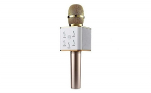 Microfon wireless cu boxa incorporata, bluetooth, karaoke, silver/gold