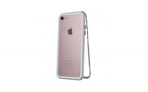 Carcasa protectie Iphone 8, magnetica, argintiu/transparent