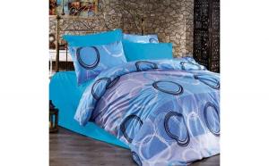 Lenjerie de pat pentru o persoana cu husa elastic pat si 2 fete perna dreptunghiulara, Blue circles, bumbac satinat, gramaj tesatura 120 g mp, multicolor, 4 piese