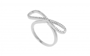 Inel argint 925 rodiat cu simbolul infinit, zirconii albe