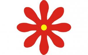 Sticker in forma de floare, 10 x 10 cm