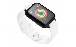 Smartwatch B57 Waterproof  Fitness Tracker Unisex  Monitorizare Puls  IP67  Bluetooth  SIM  Alb