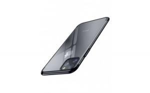 Husa protectie Iphone 11, cu folie de protectie anti-soc, transparent/negru, Gonga