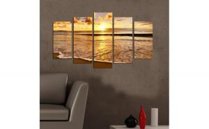 Tablou MDF Charm, model plaja, 5 piese, 20x60 cm, multicolor
