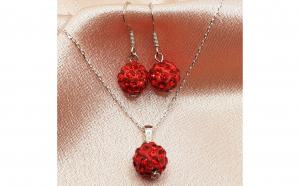 Set argint 925 cu pietre shambala rosii