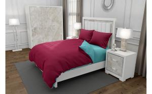 Lenjerie de pat matrimonial cu husa elastic pat si 4 huse perna dreptunghiulara, Duo Garnet, bumbac satinat, gramaj tesatura 120 g mp, Grena Turcoaz, 6 piese