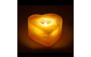 Suport din sare inima pentru lumanare, Dragobete, Decoratiuni